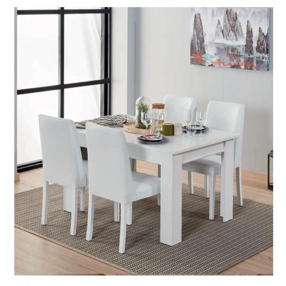 Set dining Dessenti Armada 4 piese, masa 1380x900, servanta cu oglinda  1200x420, unitate Tv 1500x417mm culoare alb