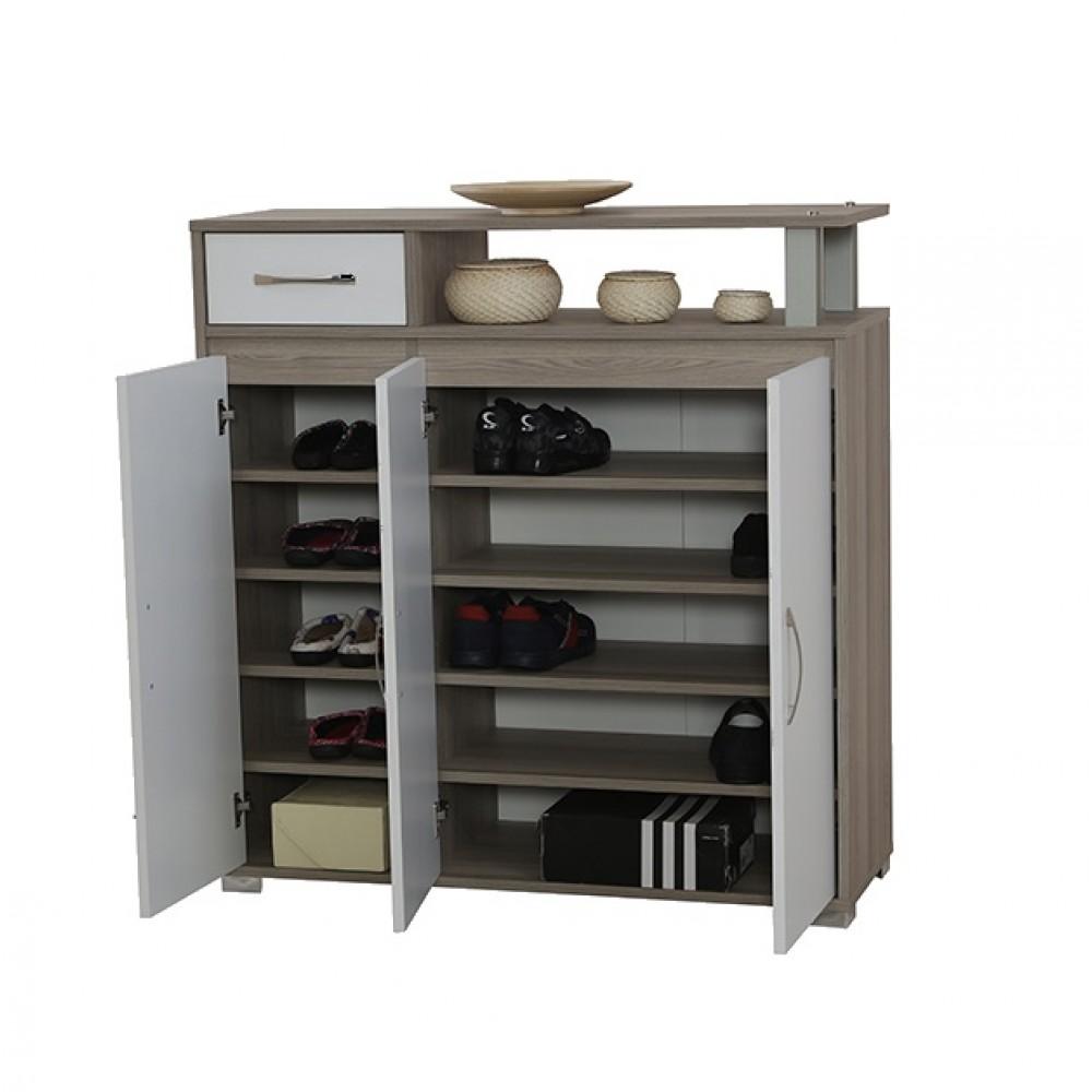 Pantofar Alpino Compact culoare stejar/alb cu 3 usi 5 rafturi si un sertar dimensiuni 1100x1145x398mm