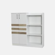 Biblioteca Epsilon Alpino, 1230 mm x 1160 mm x 324 mm, Alb/Stejar