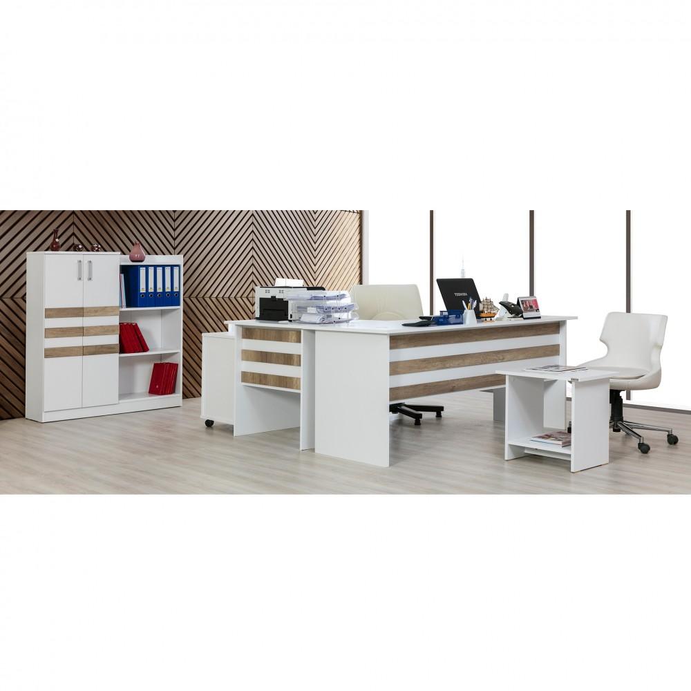 Set birou Epsilon Alpino culoare alb 4 piese, birou180x70 ,masuta de cafea 55x40,comoda cu sertare 45x40si dulap acte 116x32.4