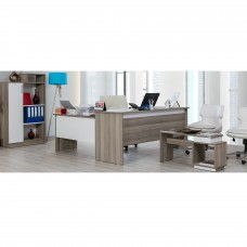 Set birou Evita Alpino culoare cordoba/alb 4 piese, birou180x70cm ,masuta de cafea 90x30cm,extensie birou cu sertare109.5x53cm si dulap acte 80.6x32cm