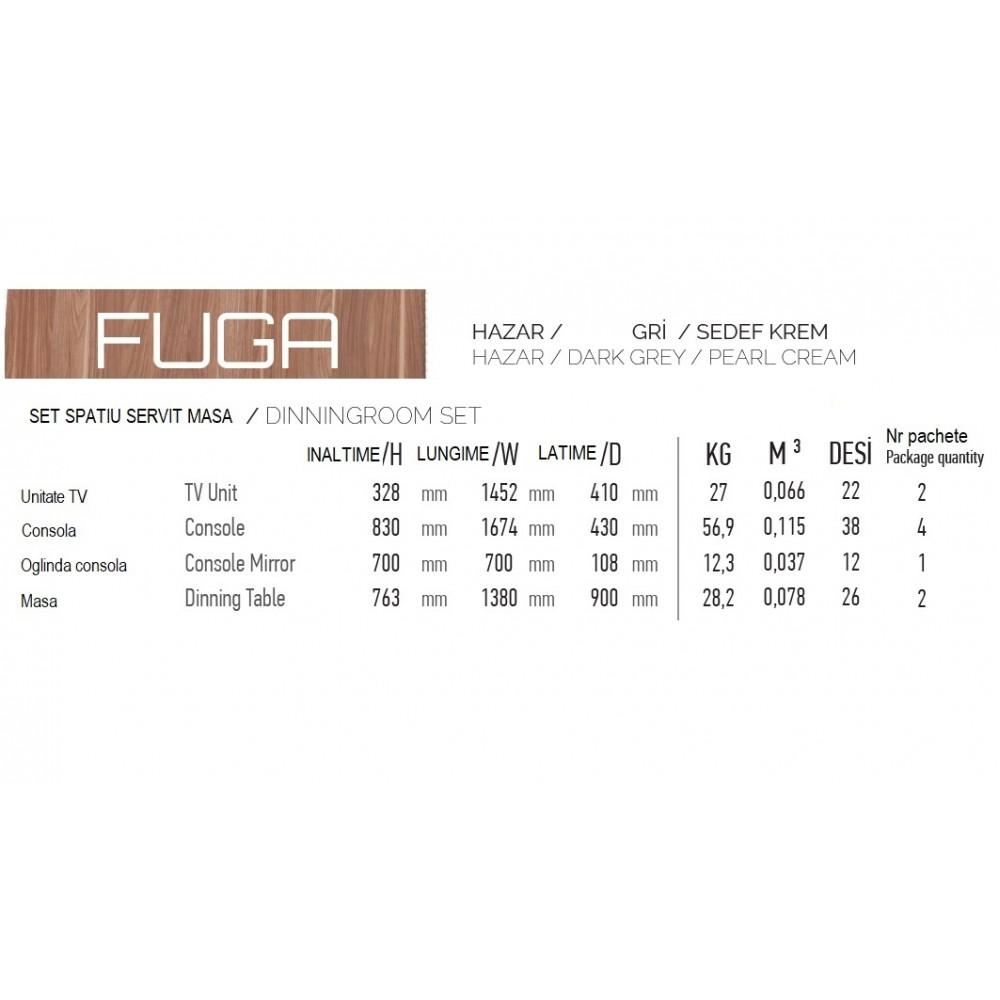Set dining Dessenti Fuga 4 piese, masa 1380x900, servanta cu oglinda  1674x430, unitate Tv 1452x410mm culoare hazar,gri,crem sidef.