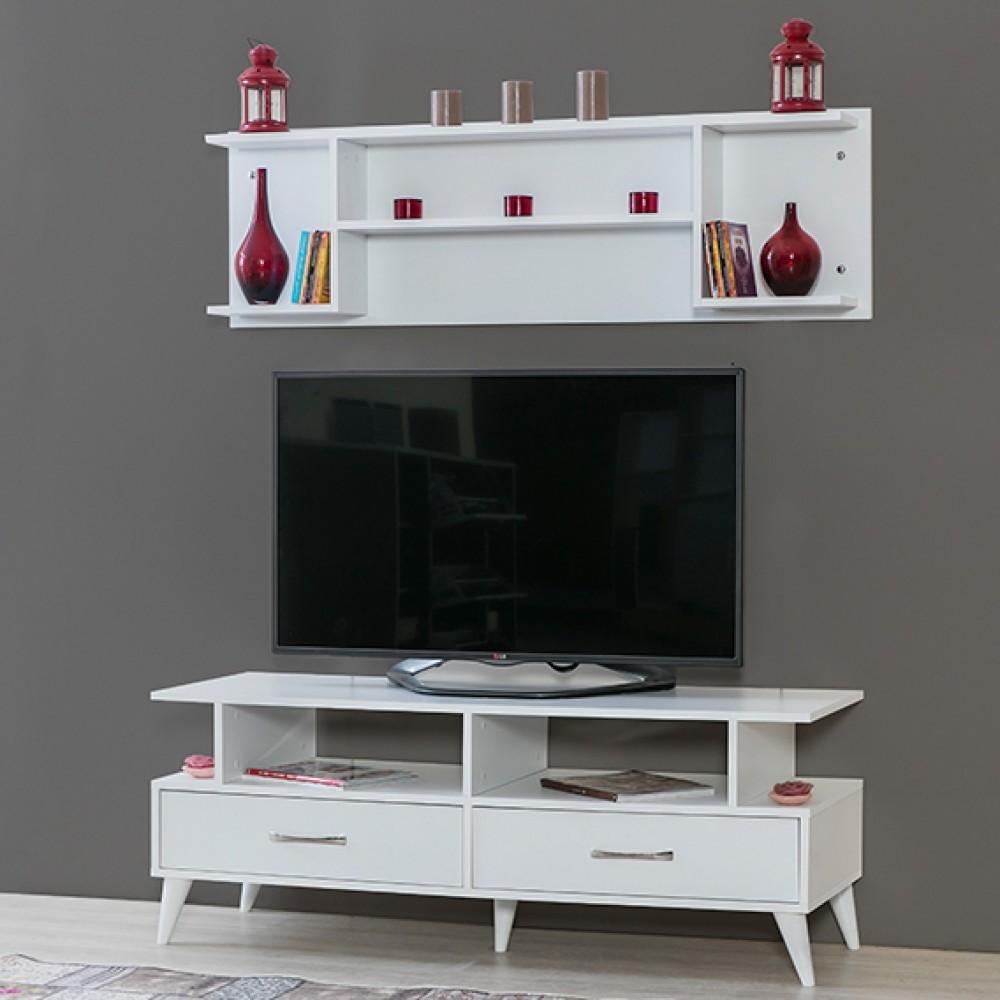 Comoda TV Alpino Harvel, 529 x 1450 x 500 x h550 mm, Alb