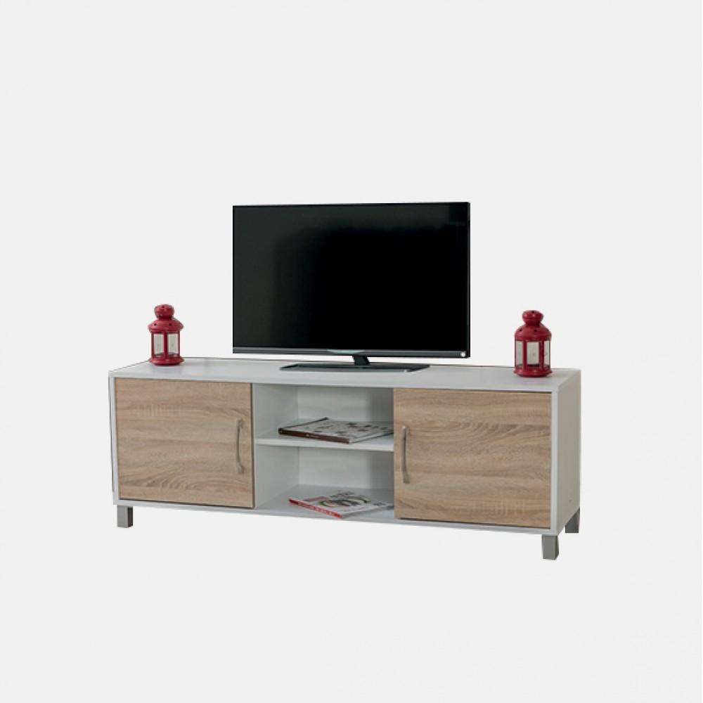 Comoda TV Alpino Hira, 529 x 1486 x 403 mm, Alb/Stejar