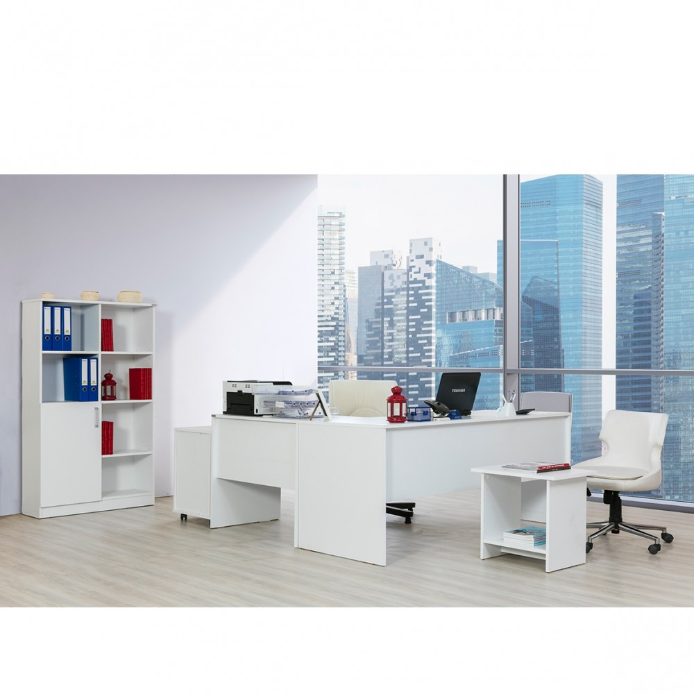 Set birou Alpino Inci culoare alb 4 piese