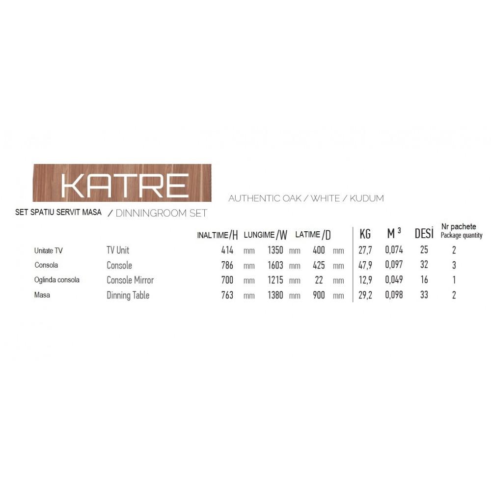 Set dining Dessenti Katre 4 piese, masa 1380x900, servanta cu oglinda  1603x425, unitate Tv 1350x400mm culoare bej/alb.
