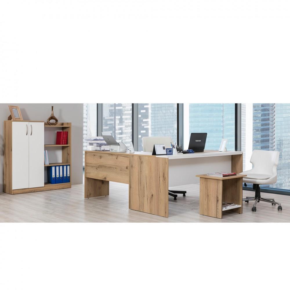 Set birou Napoli Alpino culoare stejar 4 piese, birou L 163.6x70 ,masuta de cafea 54.9x40 si dulap acte 94.2x31