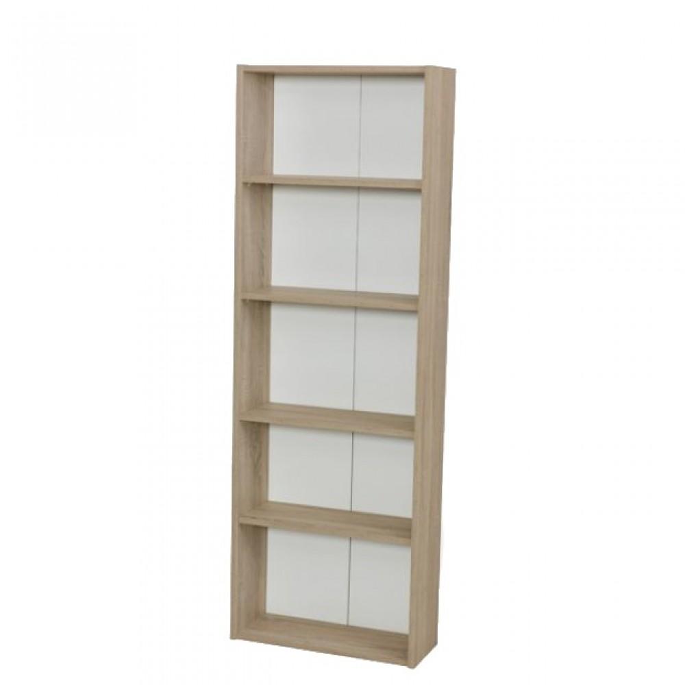 Set birou Alpino Omega culoare stejar/alb 4 piese ,masa birou 200x140x74.3,dulapior cu sertare 45x50x64.6,dulap acte 58x23.5x170,masuta cafea 55x40x50