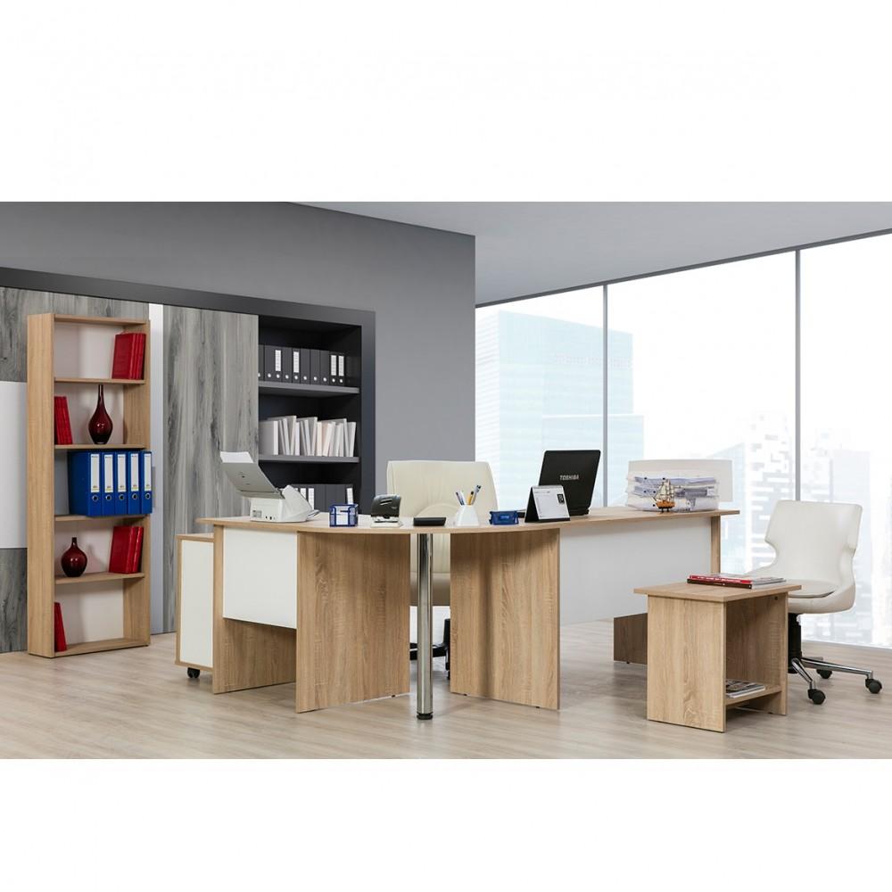 Set birou Alpino Omega culoare stejar/alb 4 piese