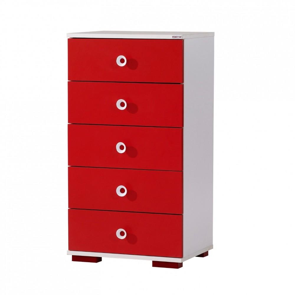 Comoda Red Alpino, 55x40cm h102cm culoare alb/rosu