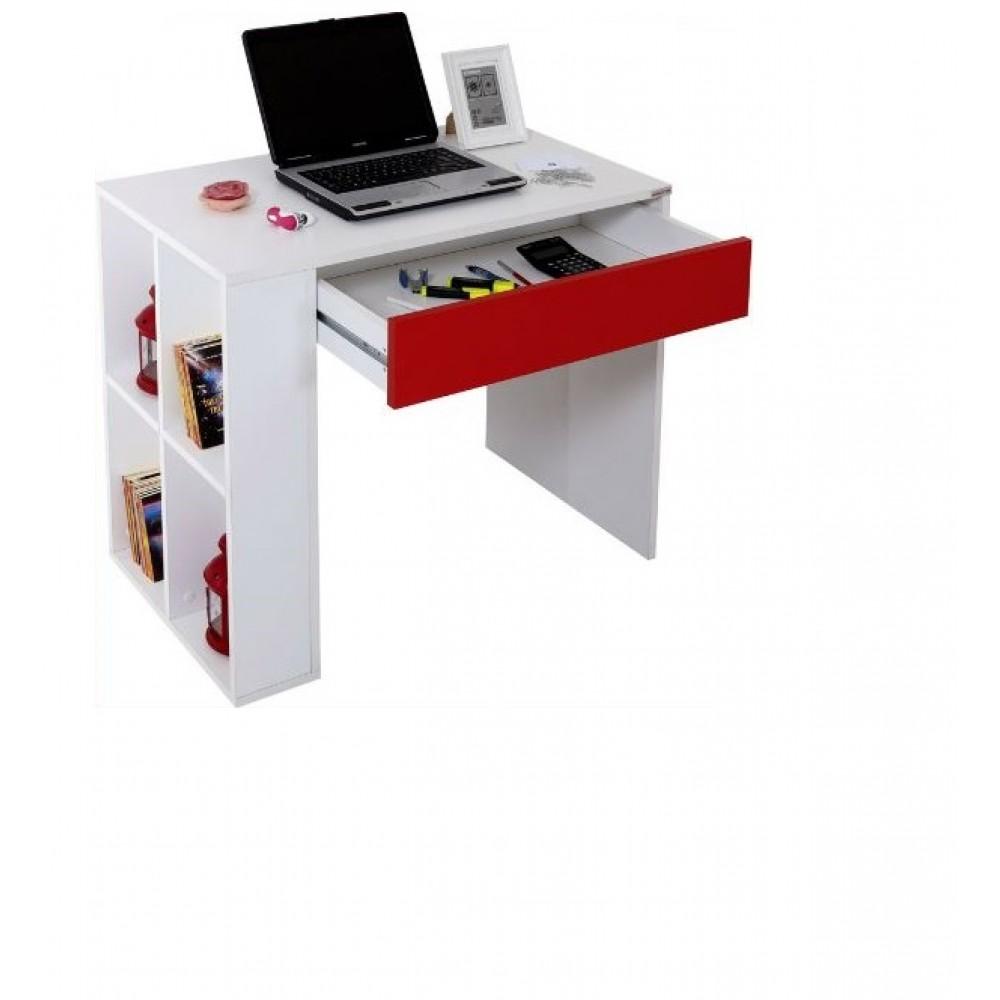 Set birou Red Alpino culoare alb/rosu 2 piese, birou 90x50cm h 76.1cm ,comoda cu sertare 55x40cm h102cm