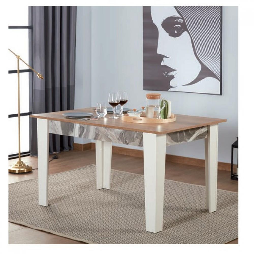 Set dining Dessenti Ritim 4 piese, masa 1380x900, servanta cu oglinda  1600x425, unitate Tv 1305x420mm culoare alb/bej/albastru.