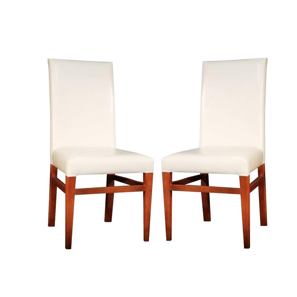Set 2 scaune living Simge tapitate piele ecologica alb fildes cu  picioare lemn