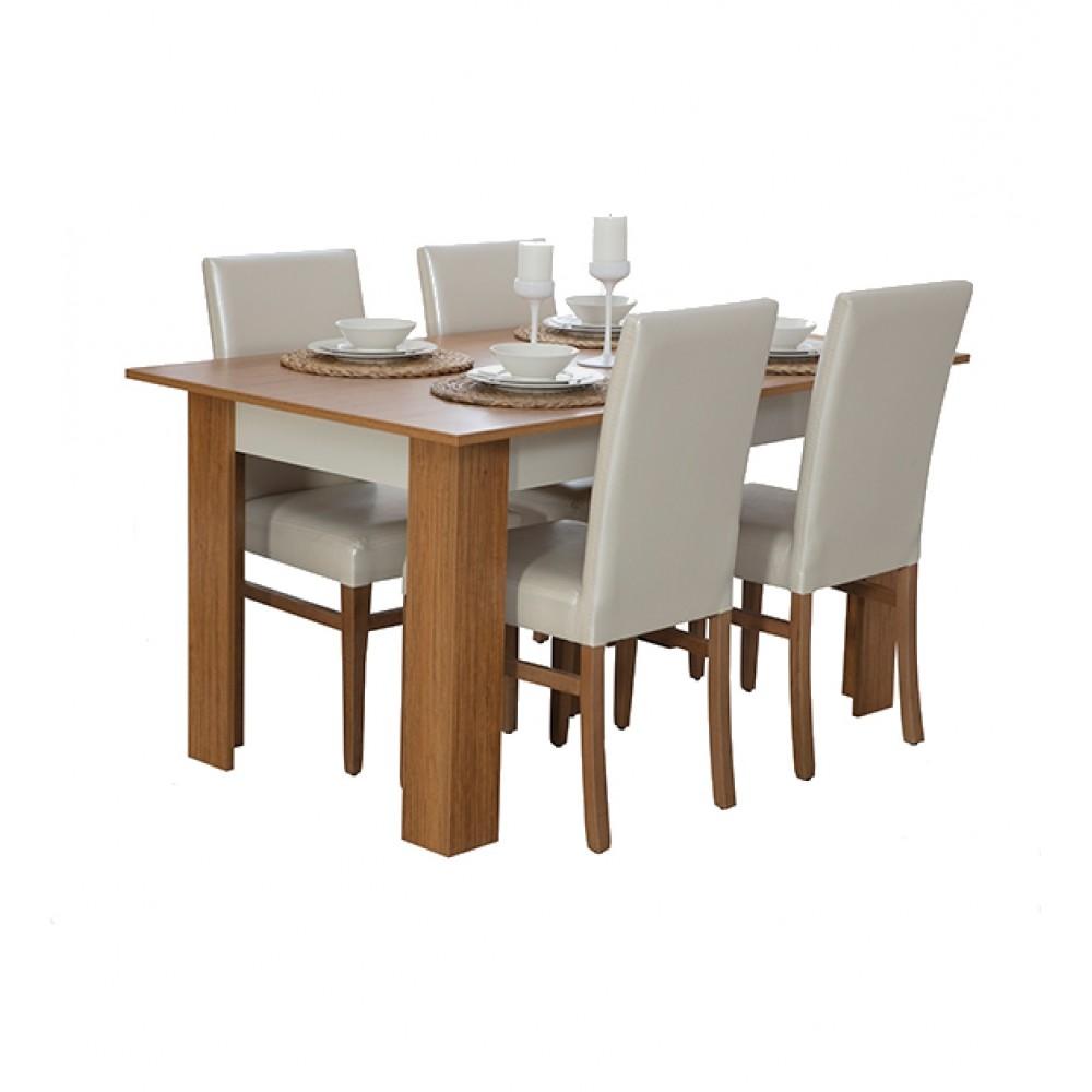 Set dining Turna Alpino culoare maro/alb 4 piese, masa 1450x900mm, vitrina 902x394mm, dulap tacamuri 1604x414mm, oglinda 1263x140mm