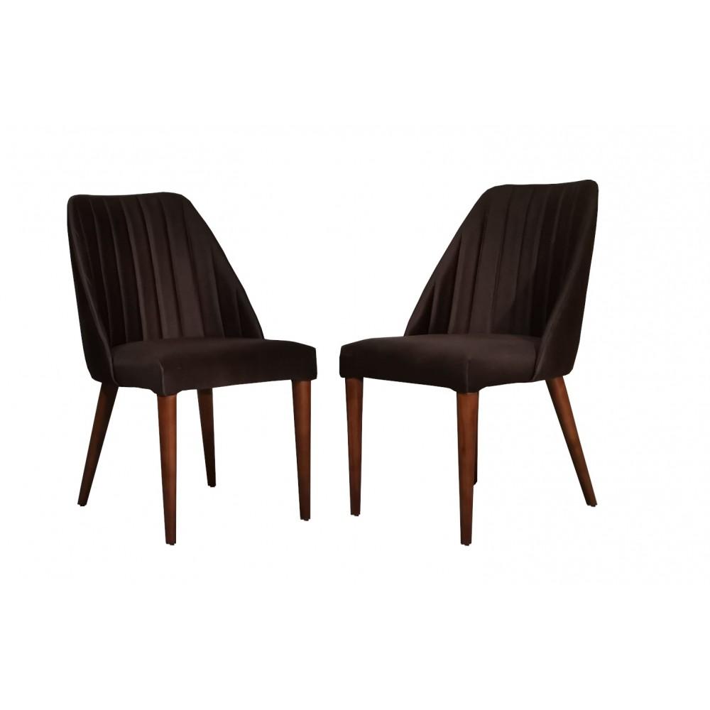 Set 2 scaune living Tuval vizon maro picioare lemn
