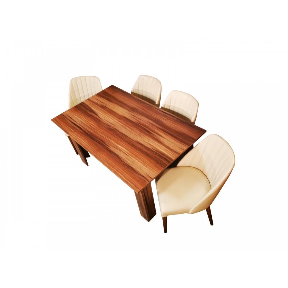 Set masa pal melaminat maro  cu 4 scaune Tuval tapitate cu piele ecologica alb fildes