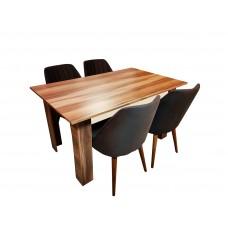 Set masa pal melaminat maro  cu 4 scaune Tuval tapitate cu material textil negru