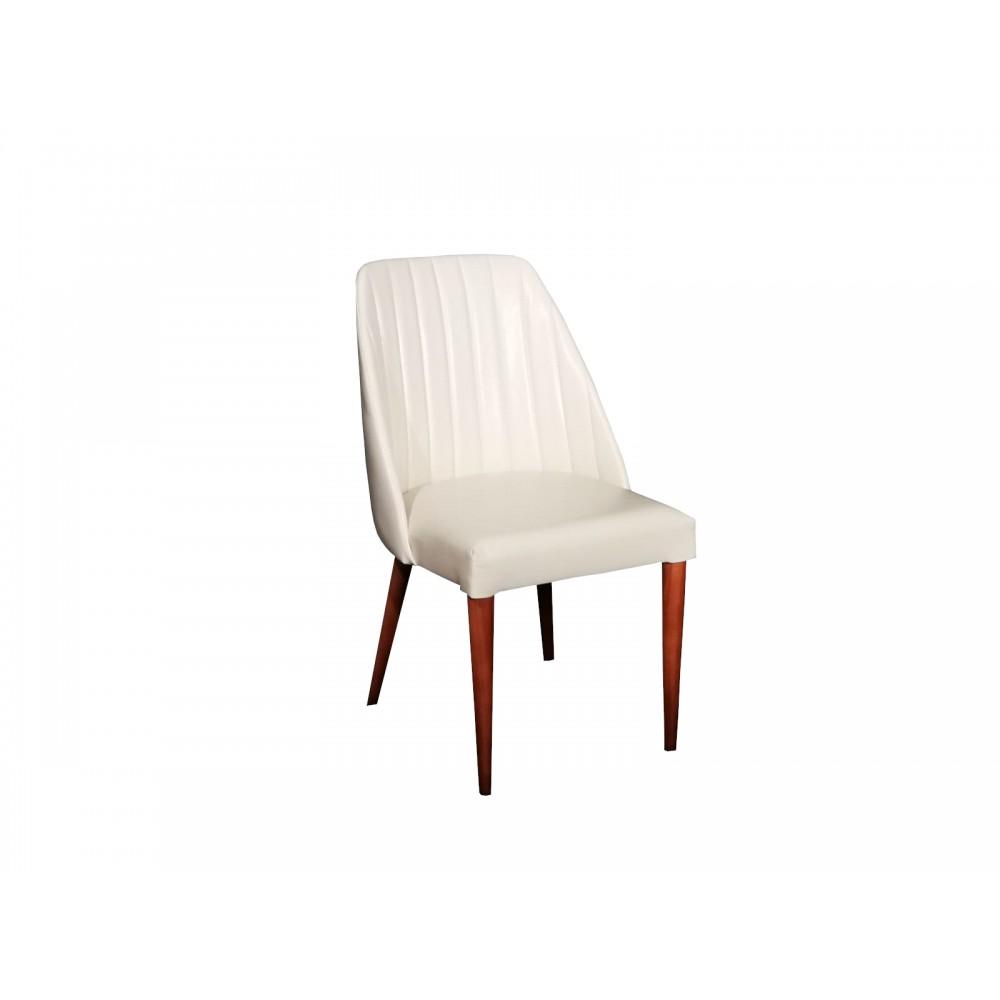 Set 2 scaune living Tuval tapitate piele ecologica alb fildes cu  picioare lemn
