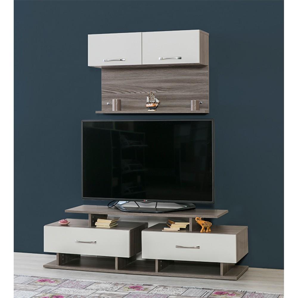 Comoda TV Alpino Demre, 1500 x431 x h441 mm, Maro/Alb