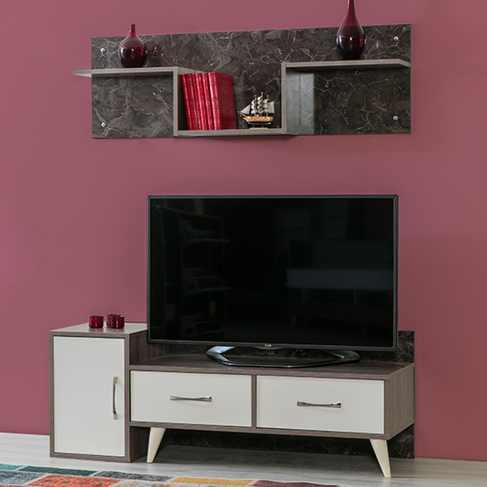Comoda TV Alpino Lates, 1454 x468 x h536 mm, Maro/Alb