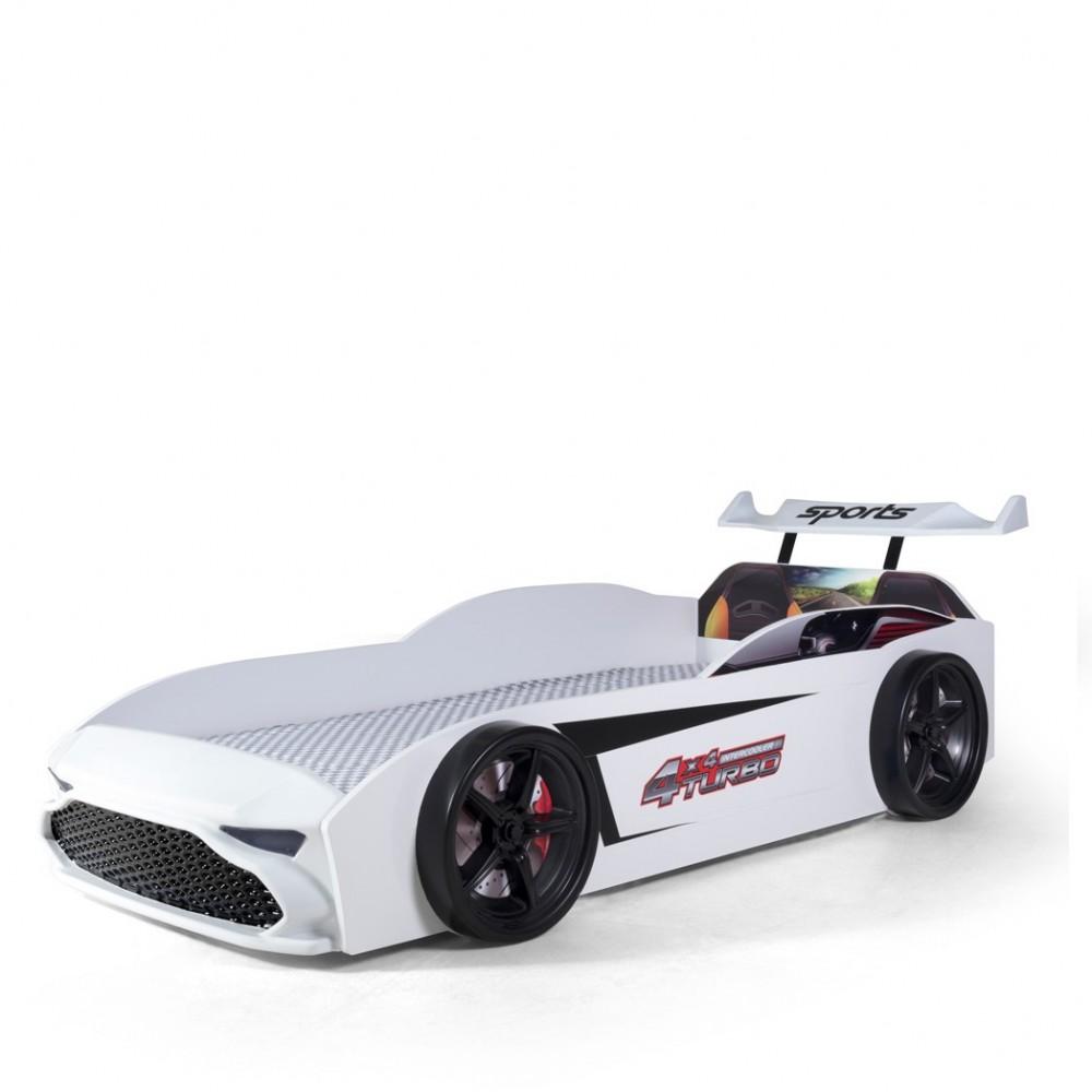 Pat copii Masina GT18 alba