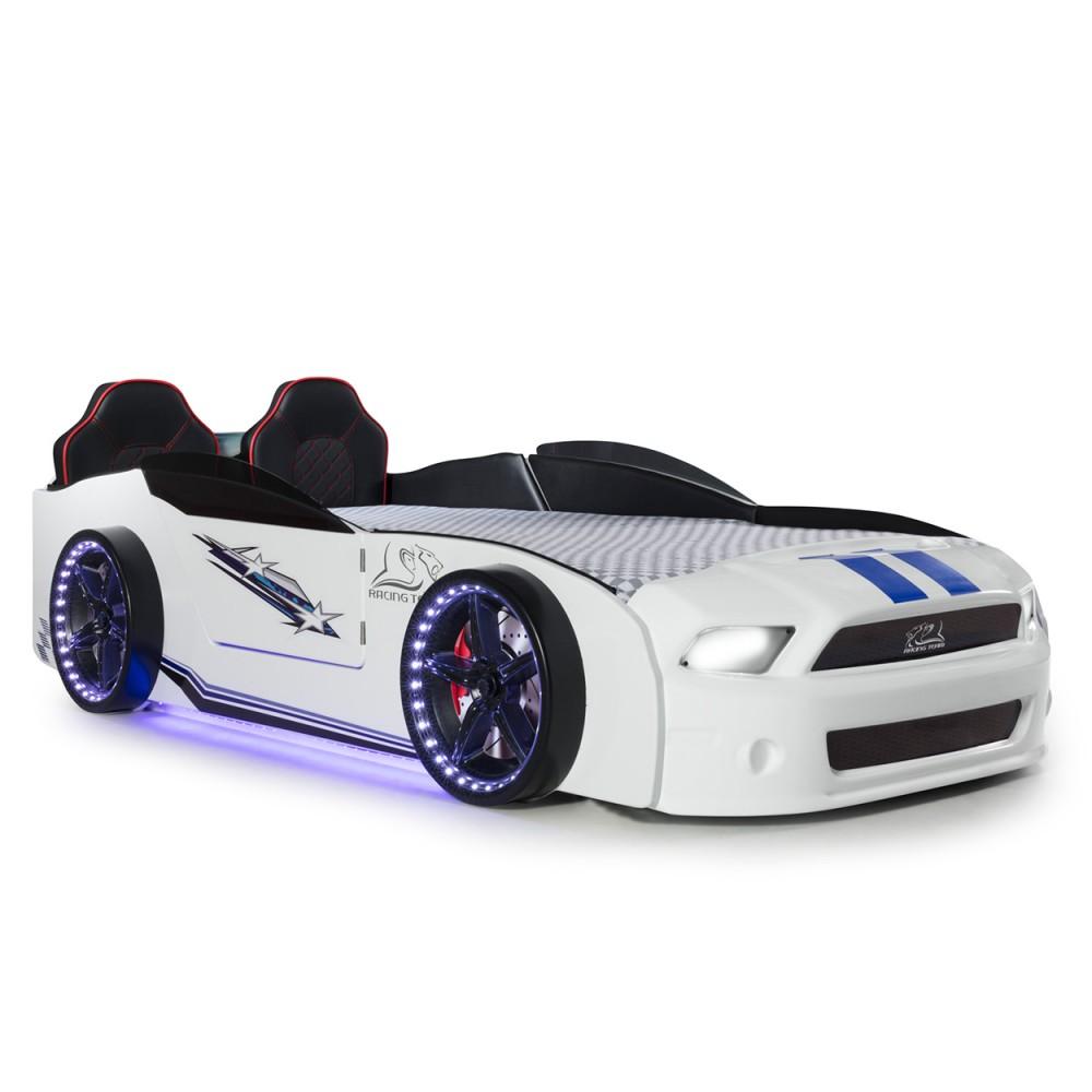 Pat copii Masina Mustang alb