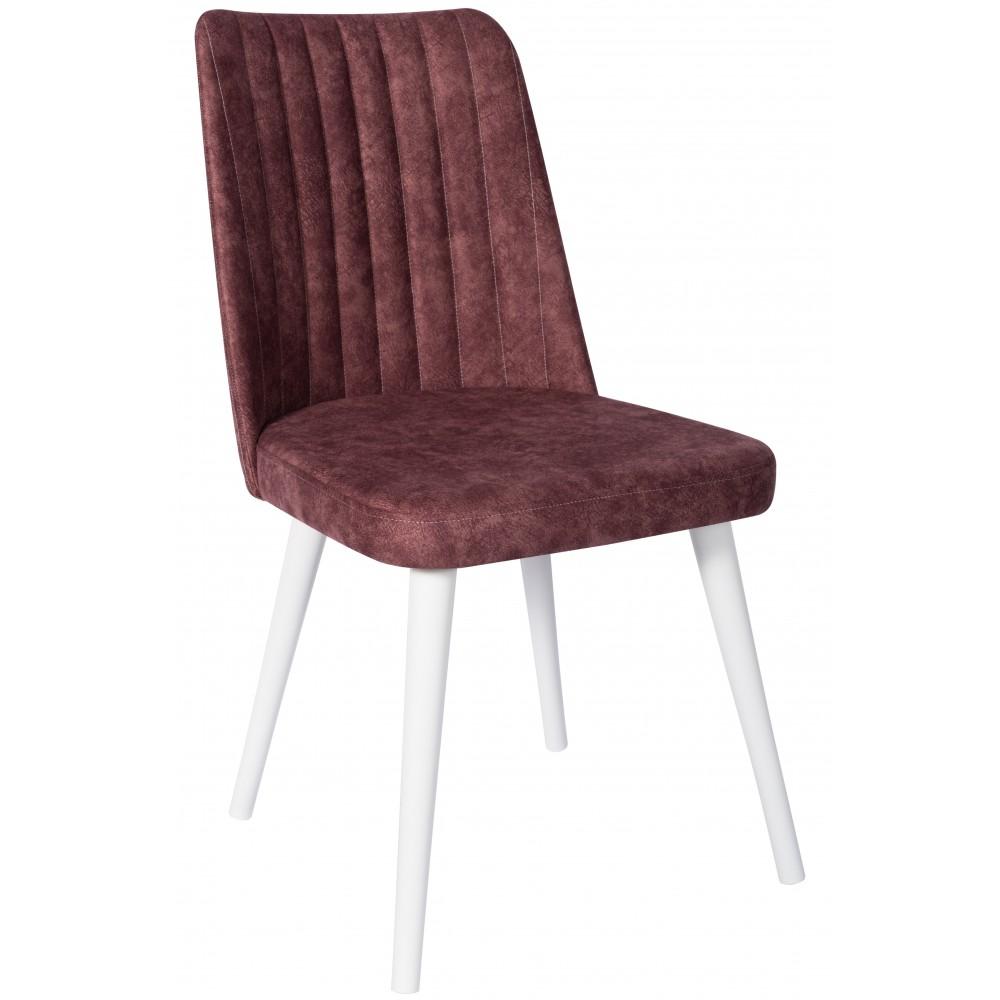 Set 4 scaune Gold mov cu picioare lemn alb