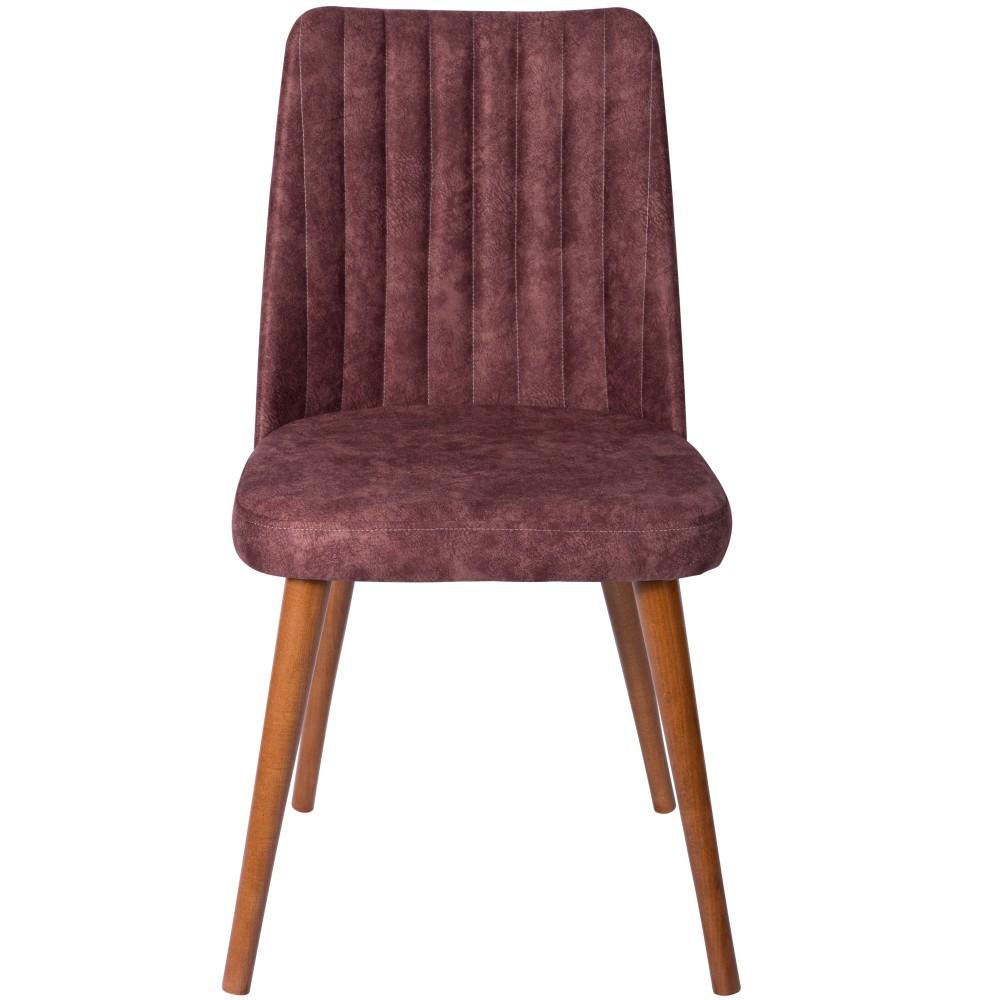 Set 4 scaune Gold mov cu picioare lemn maro