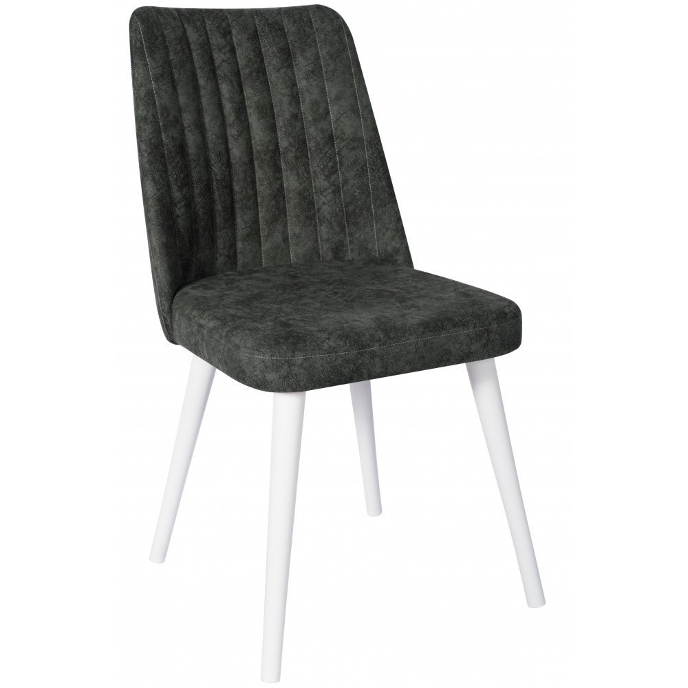 Set 4 scaune Gold verde si picioare lemn albe