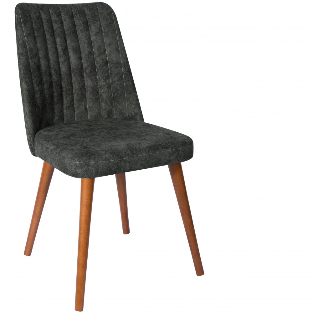 Set 4 scaune Gold tapiterie textil verde si picioare lemn maro