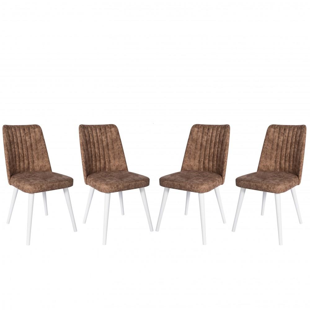 Set 4 scaune Gold maro cu picioare lemn alb