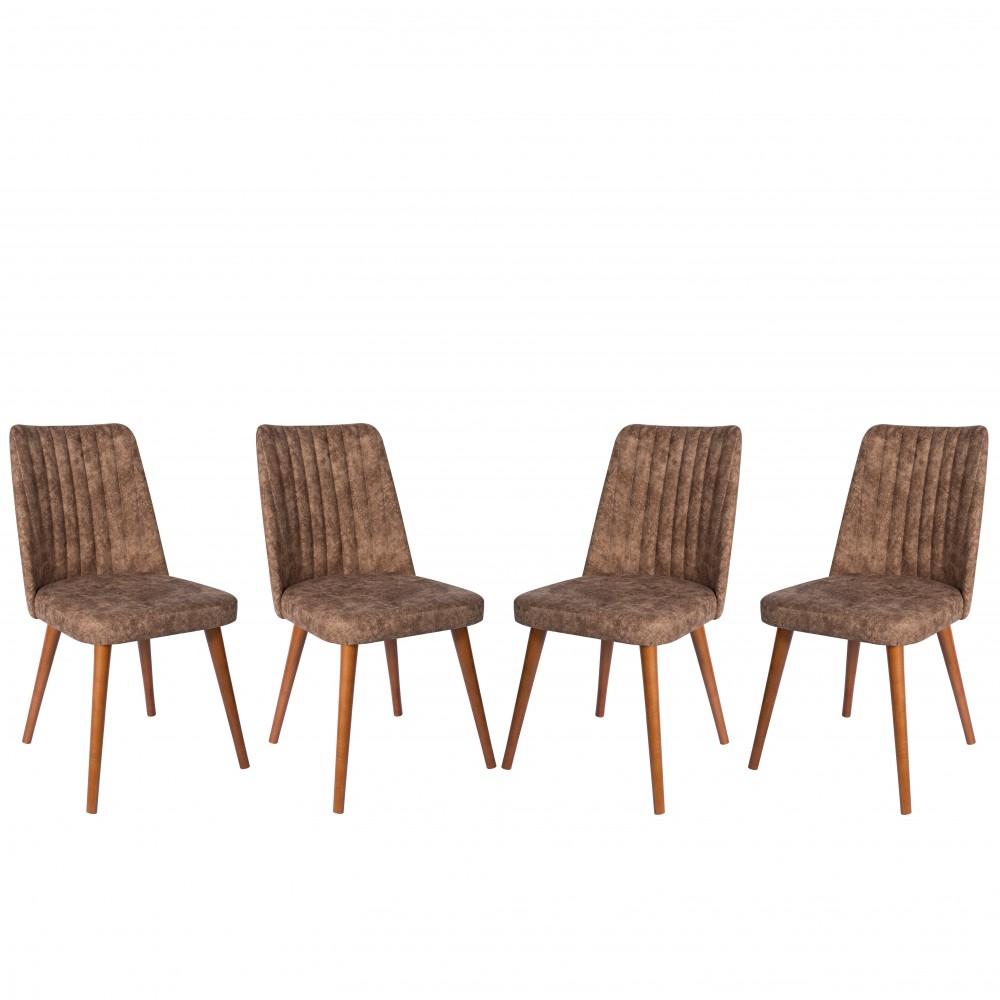 Set 4 scaune Gold maro cu picioare lemn maro