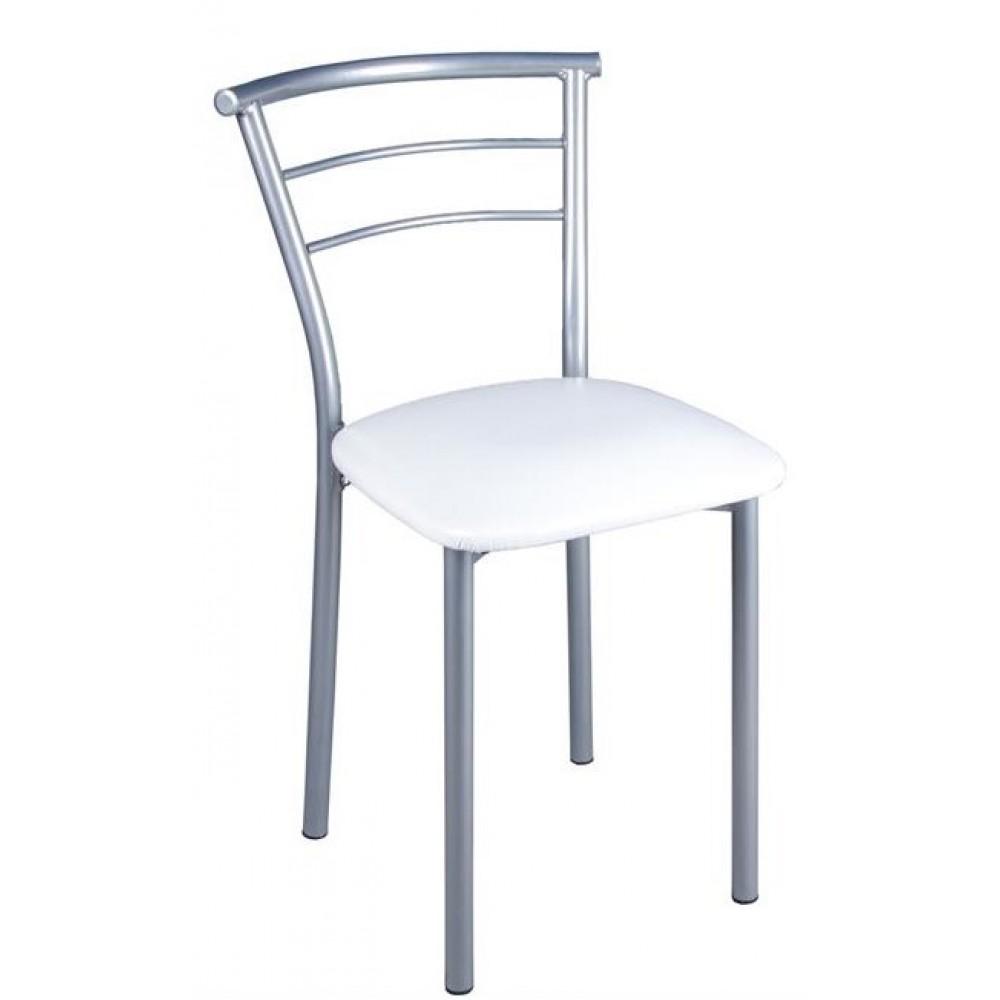 Set masa cu 2 scaune pentru bucatarie, Minimo, 53x80cm, alb/argintiu
