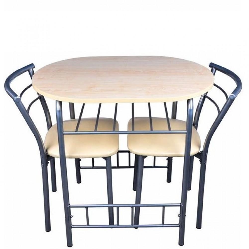 Set masa cu 2 scaune pentru bucatarie, Minimo, 53x80cm,crem