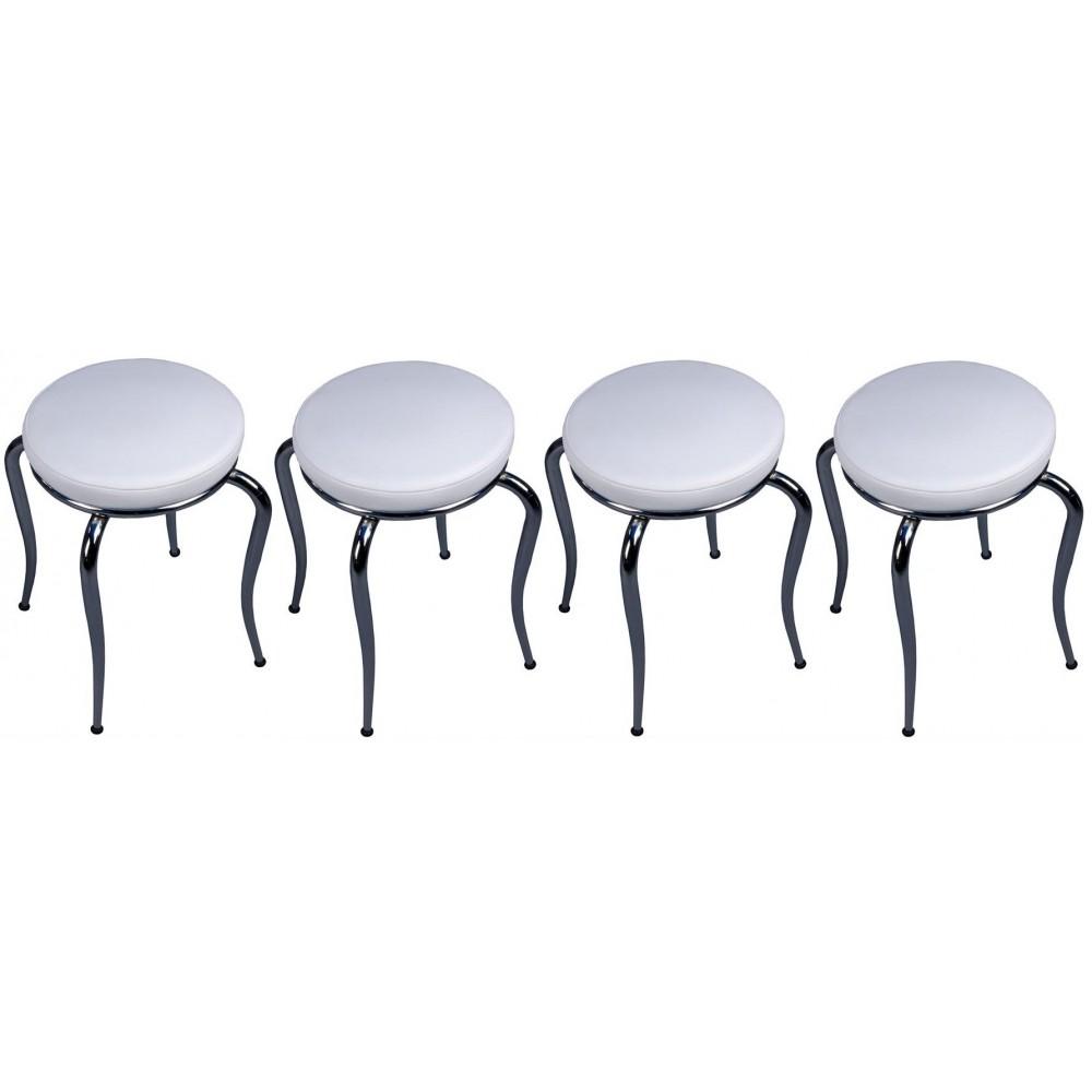Set 4 taburete Seloo, suprapozabile culoare alb