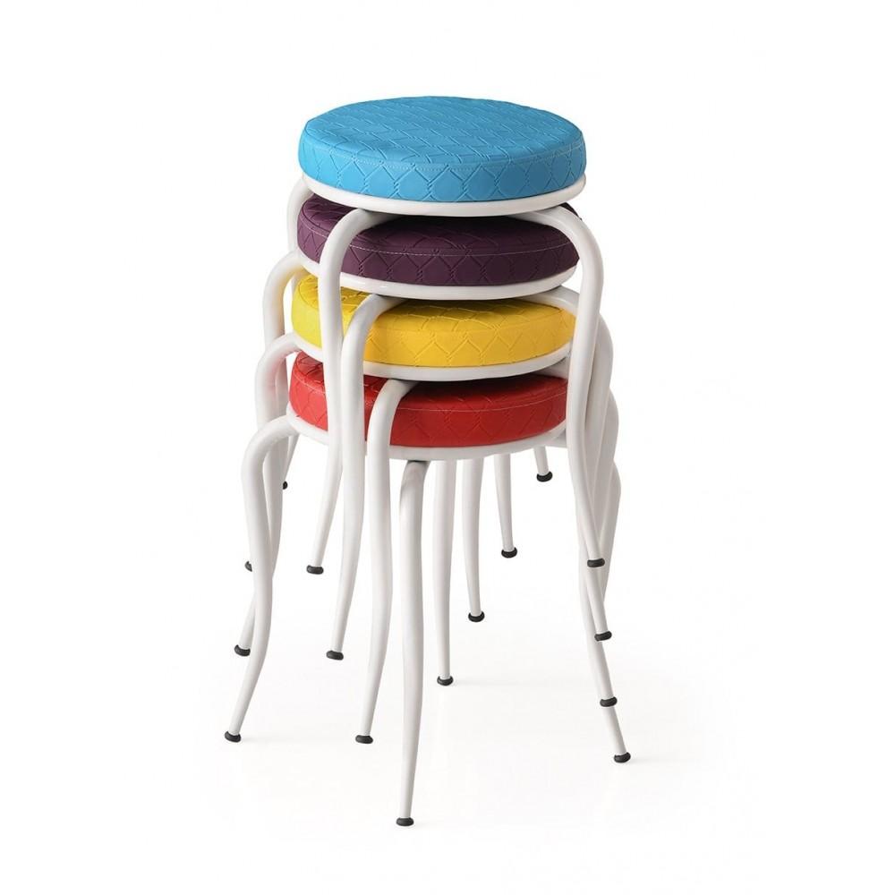 Set 4 taburete Seloo, suprapozabile multicolor picioare albe