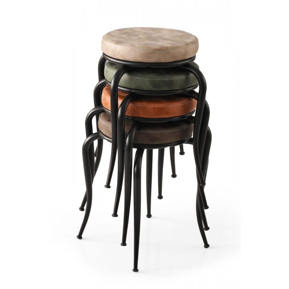Set 4 taburete Seloo, suprapozabile Sonbahar,picioare negre