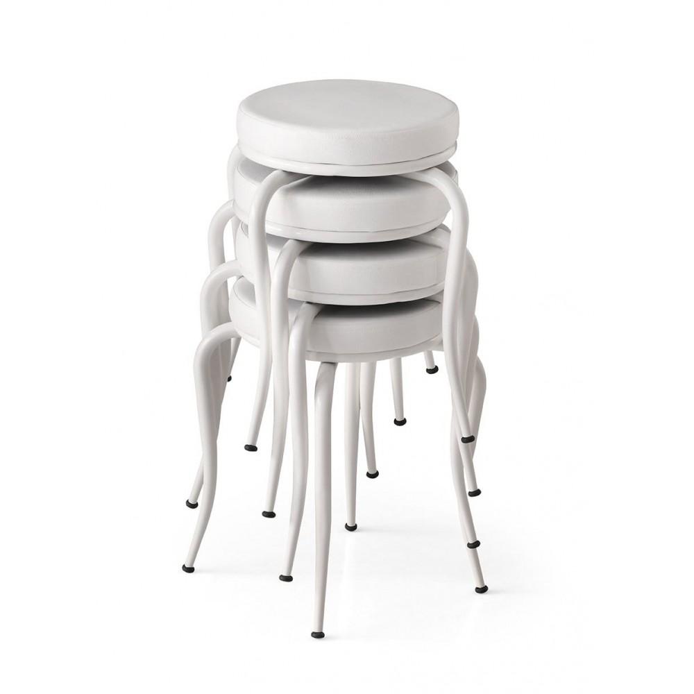 Set 4 taburete Seloo, suprapozabile culoare alb,picioare albe