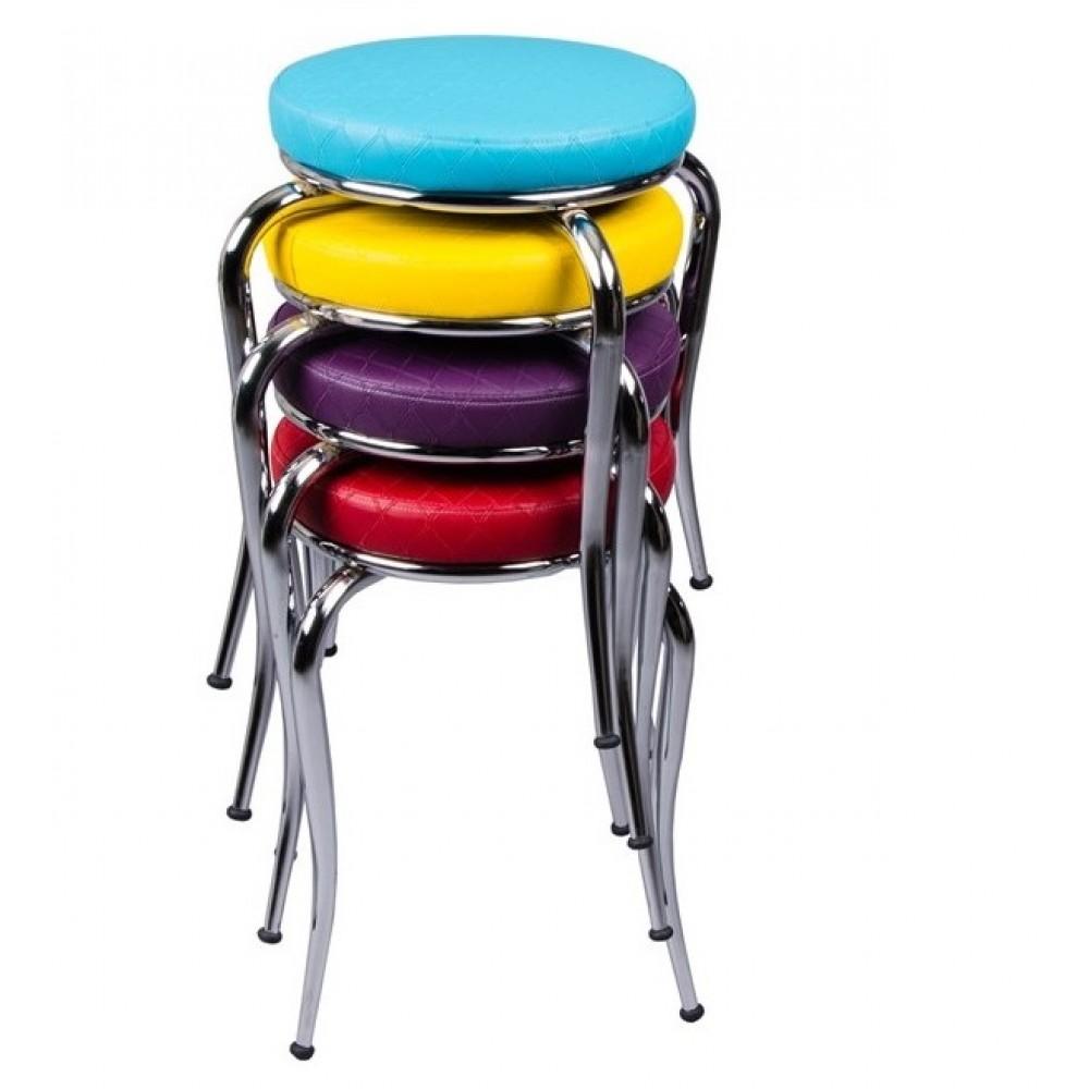 Set 4 taburete Seloo, suprapozabile multicolor