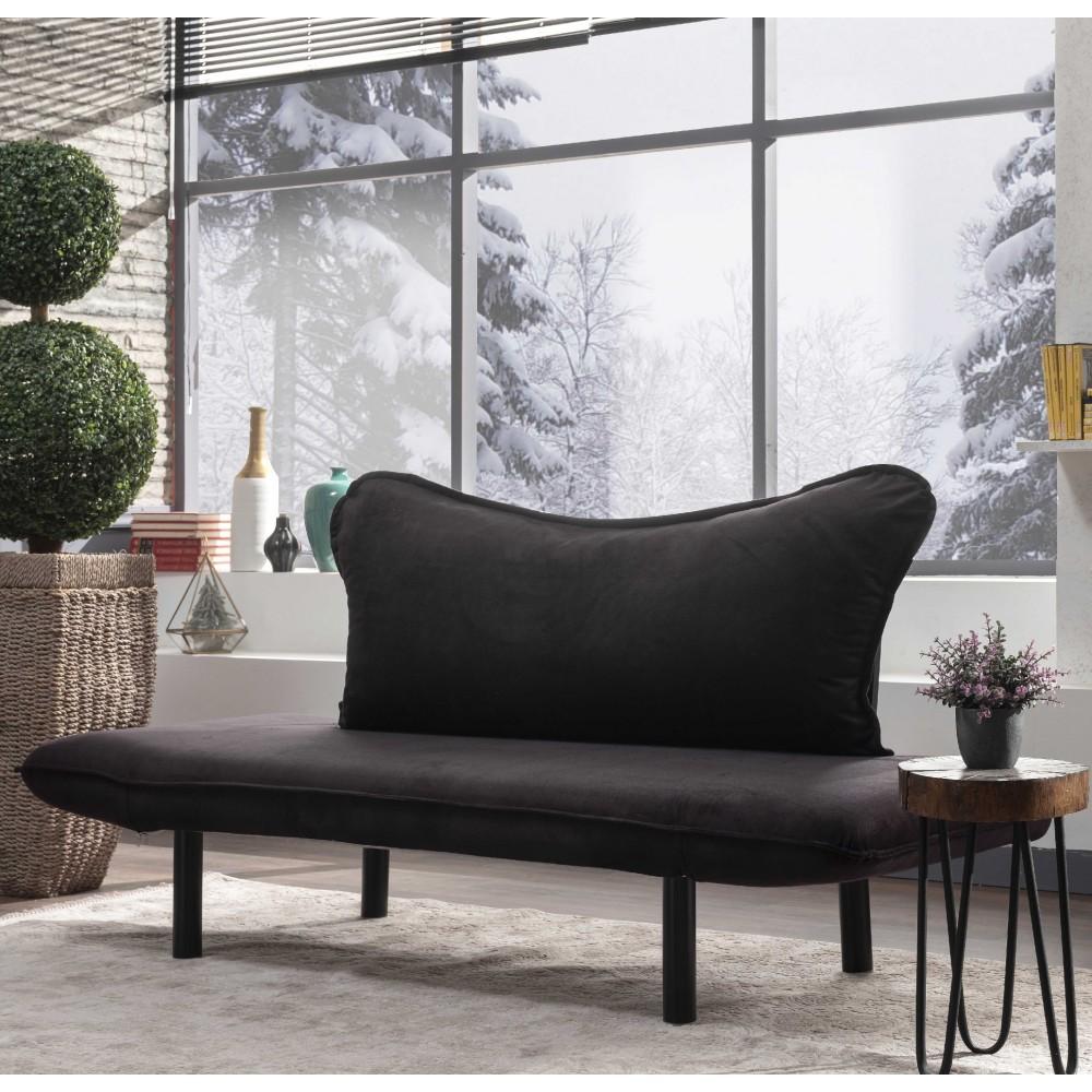 Canapea Chatto Neagra cu 2 locuri
