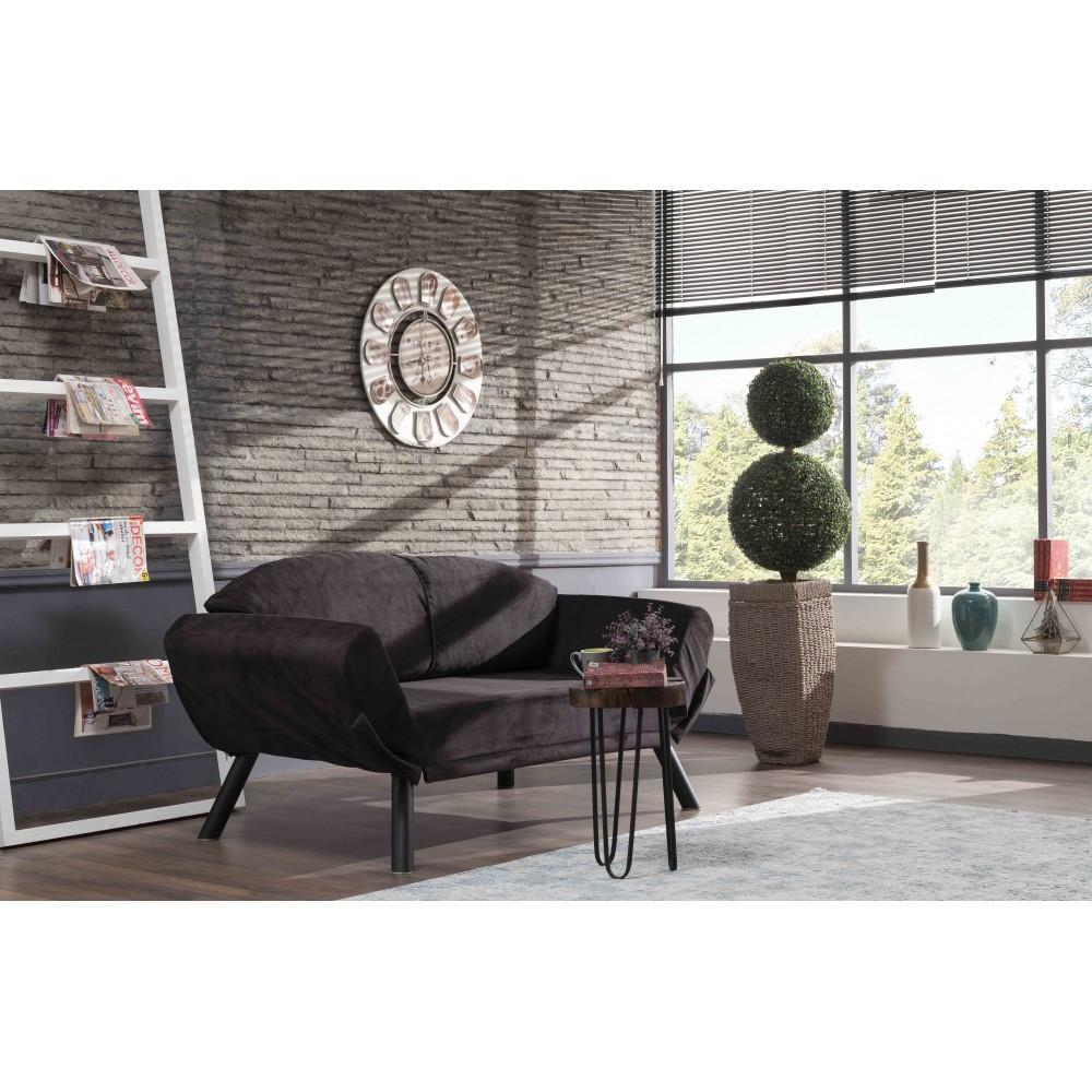 Canapea Genzo Neagra cu 2 locuri