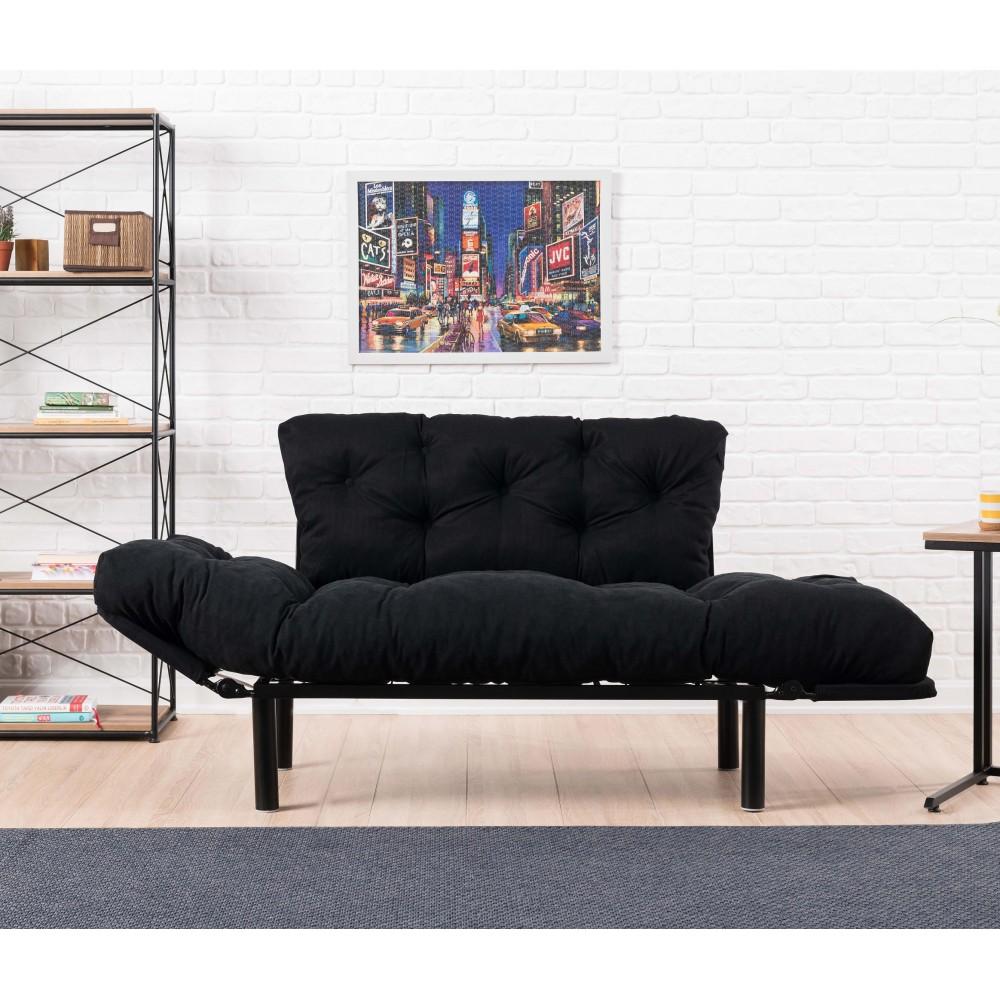 Canapea Nitta Neagra cu 2 locuri