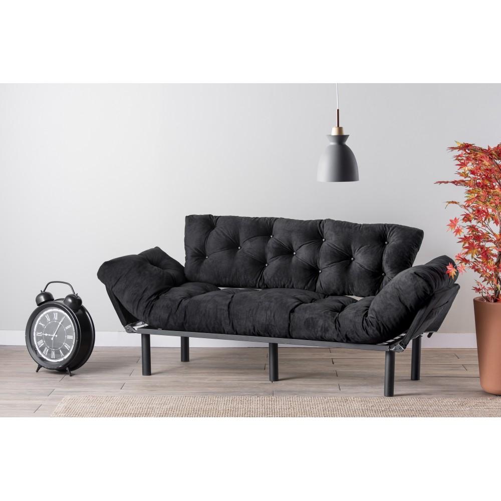 Canapea Nitta Neagra cu 3 locuri