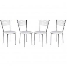 Set 4 scaune de bucatarie albe cu dungi negre Matrix