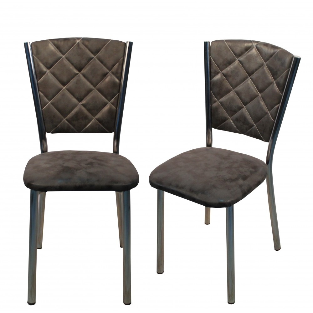 Set 4 scaune Efes piele ecologica Sarp gri