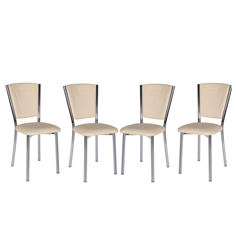 Set 4 scaune Efes piele ecologica crem