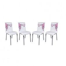 Set 4 scaune Pedli albe flori mov