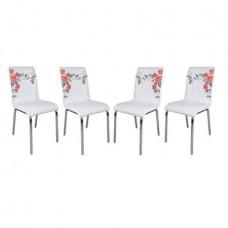 Set 4 scaune de bucatarie Pedli albe cu imprimeu trandafir rosu