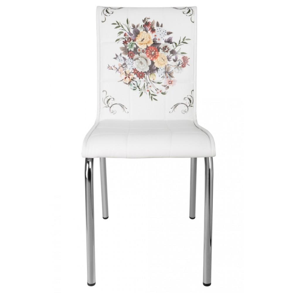 Set 4 scaune Pedli tapitate piele ecologica imprimata cos cu flori