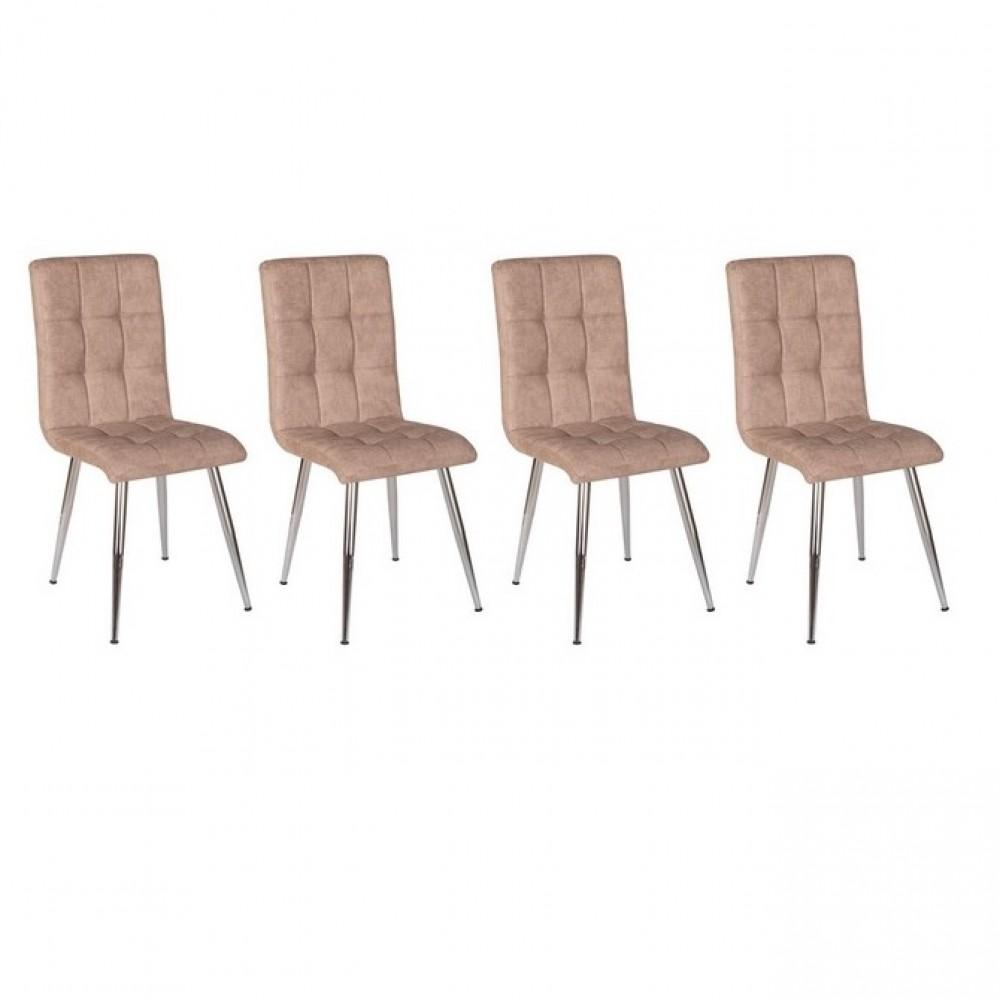 Set 4 scaune Kare denim tapitate piele ecologica culoare maro